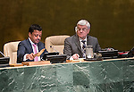 General Assembly 70th session:  66th plenary meeting<br /> 1. Report of the Credentials Committee (A/70/573 (to be issued)) [item 3 (b)]<br /> 2. Culture of peace [item 16]<br /> (a) Report of the Secretary-General (A/70/373) <br /> (b) Draft resolutions (A/70/L.20 and A/70/L.24 (to be issued))