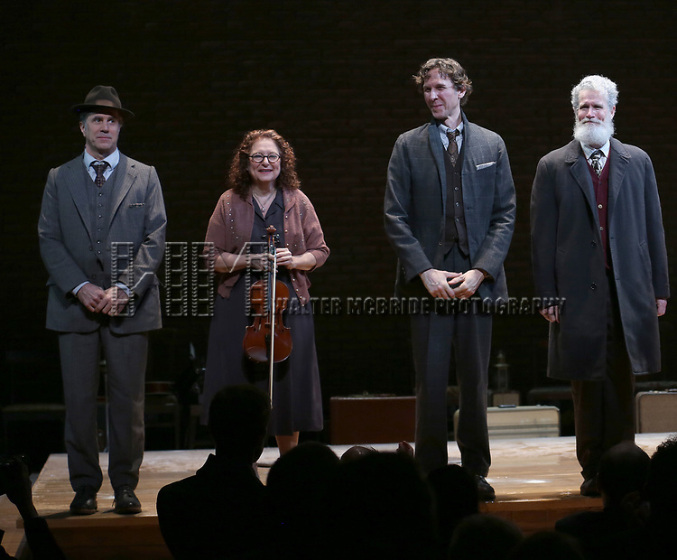 Matt Darriau, Lisa Gutkin, Aaron Halva, Tom Nelis,  during the Broadway Opening Night Performance Curtain Call Bows for  'Indecent' at The Cort Theatre on April 18, 2017 in New York City.