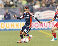 First half. New England Revolution midfielder Diego Fagundez (14) scores goal in the first half. In a Major League Soccer (MLS) match, the New England Revolution vs Chicago Fire, at Gillette Stadium on October 20, 2012.