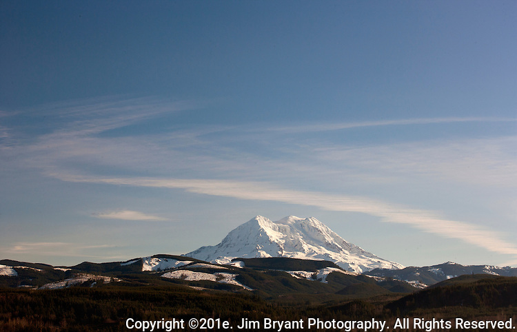 Mt. Rainier is a heavily glaciated, dormant volcano surrounded by alpine parks. The 14,411 foot volcano which covers 228,480 acres was designated a National Park in 1899. Washington. Jim Bryant Photo. ©2013. All Rights Reserved.