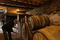 Europe/France/Normandie/Basse-Normandie/50/Saint-Jean-des-Champs: Ferme de l&acute;Hermiti&egrave;re -  Jean Luc Coulombier, cidriculteur dans son chai <br /> &Agrave;uto N&deg;:  2012-442<br /> // Europe,France,Normandie,Basse-Normandie,Saint-Jean-des-Champs: Jean Luc Coulombier, cider maker in his cellar