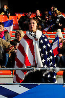 Lorient, France. - Sunday, February 8, 2015: USA fan. USWNT vs France during an international friendly at the Stade du Moustoir.
