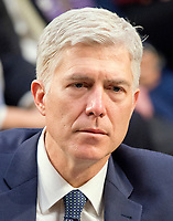 Judge Neil Gorsuch testifies before the United States Senate Judiciary Committee on his nomination as Associate Justice of the US Supreme Court to replace the late Justice Antonin Scalia on Capitol Hill in Washington, DC on Wednesday, March 22, 2017.<br /> Credit: Ron Sachs / CNP /MediaPunch