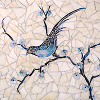 Chinoiserie, a hand cut jewel glass mosaic shown in Marcasite, Pewter and Mica with Quartz Sea Glass™, is part of the Delft Collection by Sara Baldwin for New Ravenna Mosaics.