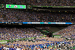 31 MAR 2012:  University of Kentucky fans cheer on their team against the University of Kansas in the championship game of the 2012 NCAA Men's Division I Basketball Championship Final Four held at the Mercedes-Benz Superdome hosted by Tulane University in New Orleans, LA. Kentucky defeated Kansas 67-59 to win the national title. Brett Wilhelm/NCAA Photos