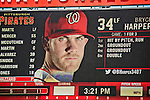 25 July 2013: Washington Nationals outfielder Bryce Harper is displayed on the scoreboard during a game against the Pittsburgh Pirates at Nationals Park in Washington, DC. The Nationals salvaged the last game of their series, winning 9-7 ending their 6-game losing streak. Mandatory Credit: Ed Wolfstein Photo *** RAW (NEF) Image File Available ***
