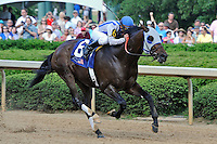 Alternation (no. 6), ridden by Luis Quinonez and trained by Donnie Von Hemel, wins the 66th running of the grade 2 Oaklawn Handicap for four year olds and upward on April 14, 2012 at Oaklawn Park in Hot Springs, Arkansas.  (Bob Mayberger/Eclipse Sportswire)