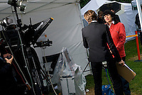 UK. London. From a story on Abingdon Street Gardens, a small patch of land, often referred to as College Green, that lies next to The Houses of Parliament in Westminster. It is a place where the media and the politicians come face to face. Interviews are held, photo shoots are set up and bewildered tourists stroll by..Photo shows Christiane Amanpour, CNN?s chief international correspondent..Photo©Steve Forrest/Workers Photos .