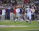 Ole Miss' Nickolas Brassell (2) catches a pass vs. Alabama at Vaught-Hemingway Stadium in Oxford, Miss. on Saturday, October 14, 2011. Alabama won 52-7.