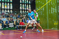 Mohamed Elshorbagy (EGY) vs. Stephen Coppinger (RSA) in teh first round of the 2014 METROsquash Windy City Open held at the University Club of Chicago in Chicago, IL on February 27, 2014