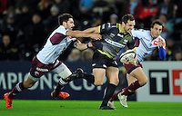 Hanno Dirksen of the Ospreys takes on the Bordeaux Begles defence. European Rugby Champions Cup match, between the Ospreys and Bordeaux Begles on December 12, 2015 at the Liberty Stadium in Swansea, Wales. Photo by: Patrick Khachfe / JMP