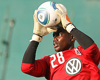 Bill Hamid #28 of D.C. United pulls in a cross during an MLS match against Chivas USA at RFK Stadium, on May 29 2010 in Washington DC. United won 3-2.