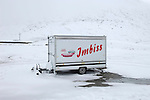 Fast food trailer left in the snow by the summit of the Furka Pass (2431m) connecting Uri and Valais, a few days before it finally closed for a seven month winter.
