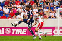 Sherjill MacDonald (7) of the Chicago Fire plays the ball. The Chicago Fire defeated the New York Red Bulls 2-0 during a Major League Soccer (MLS) match at Red Bull Arena in Harrison, NJ, on October 06, 2012.