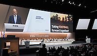Fussball International Ausserordentlicher FIFA Kongress 2016 im Hallenstadion in Zuerich 26.02.2016 JUBEL neuer FIFA Praesident Gianni Infantino (Schweiz) mit seinem Wahlverspren; Taking Football forward together!