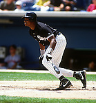 CHICAGO - 1992:  Frank Thomas of the Chicago White Sox bats during an MLB game at Comiskey Park in Chicago, Illinois.  Thomas played for the White Sox from 1990-2005. (Photo by Ron Vesely)