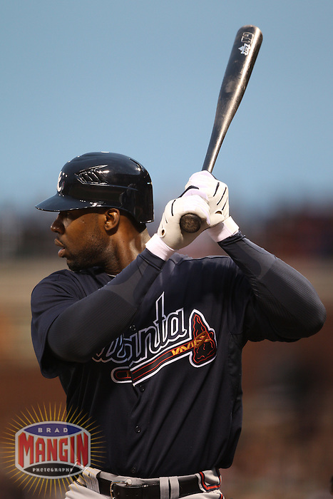 SAN FRANCISCO - APRIL 10:  Jason Heyward of the Atlanta Braves bats during the game between the Atlanta Braves and the San Francisco Giants on Saturday, April 10, 2010, at AT&T Park in San Francisco, California. The Braves defeated the Giants 7-2.  (Photo by Brad Mangin)