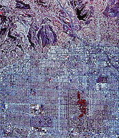 historical infrared aerial photograph of Hollywood, California, 1989