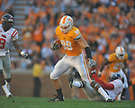 Tennessee tight end Luke Stocker (88) is tackled by Ole Miss safety Fon Ingram (35) in a college football game at Neyland Stadium in Knoxville, Tenn. on Saturday, November 13, 2010. Tennessee won 52-14.