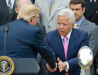 United States President Donald J. Trump shakes hands with New England Patriots owner Robert Kraft as he welcomes the Super Bowl Champs to the South Lawn of White House in Washington, DC on Wednesday, April 19, 2917.<br /> Credit: Ron Sachs / CNP/MediaPunch<br /> <br /> (RESTRICTION: NO New York or New Jersey Newspapers or newspapers within a 75 mile radius of New York City)