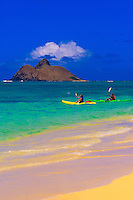 Sea kayaking, Lanikai Beach (near Kailua), (Moku Lua Island in background), Oahu, Hawaii, USA