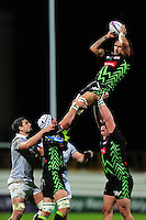 Pierrick Gunther of Pau wins the ball at a lineout. European Rugby Challenge Cup match, between Pau (Section Paloise) and Bath Rugby on October 15, 2016 at the Stade du Hameau in Pau, France. Photo by: Patrick Khachfe / Onside Images