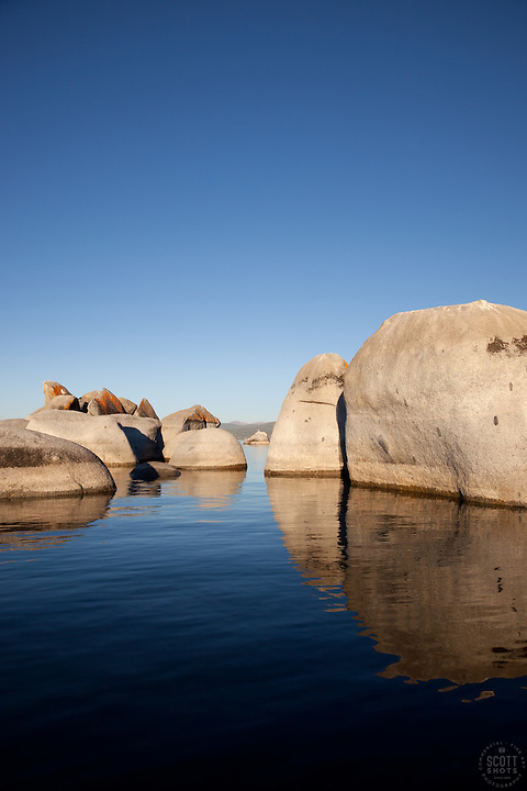 """Boulders at Lake Tahoe 4"" - These boulders were photographed from a kayak early in the morning at Lake Tahoe, near Speed Boat Beach."