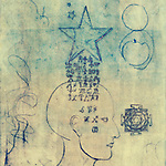 Monoprint of a human head with alchemical symbols coming through from a star.<br />