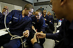 10/22/02--Al Diaz Photos--Boot Camp at The United States Coast Guard Training Center Cape May, NJ, on Tuesday. Seaman Recruits, Ruben Trevino,  20, left, Humberto Valdez, 20.