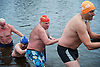 Serpentine Swimming Club <br /> Christmas Day Swimming race <br /> Serpentine, Hyde Park, London, Great Britain <br /> 25th December 2016 <br /> <br /> <br /> swimmers hold a rail to help get out of the Serpentine <br /> <br /> Photograph by Elliott Franks <br /> Image licensed to Elliott Franks Photography Services