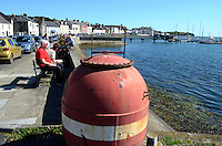 Portaferry, Co Down, N Ireland, UK, port, harbour, marina, 201208180553, with wartime mine as decoration...Copyright Image from Victor Patterson, 54 Dorchester Park, Belfast, UK, BT9 6RJ..Tel: +44 28 9066 1296.Mob: +44 7802 353836.Voicemail +44 20 8816 7153.Skype: victorpattersonbelfast.Email: victorpatterson@me.com.Email: victorpatterson@ireland.com (back-up)..IMPORTANT: If you wish to use this image or any other of my images please go to www.victorpatterson.com and click on the Terms & Conditions. Then contact me by email or phone with the reference number(s) of the image(s) concerned.