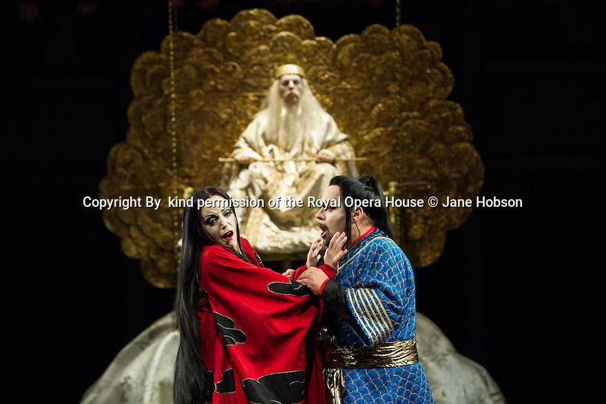 London, UK. 07.09.2013. TURANDOT opens at the Royal Opera House. Picture shows: Lise Lindstrom (Turandot), Marco Berti (Calaf) and Alasdair Elliott (Emperor Altoum). Photograph by kind permission of the Royal Opera House © Jane Hobson.