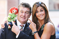 19/8/2010. TV3 SEASON LAUNCH. Presenters Bosco, Bill Cullen and Glenda Gilsen are pictured on Kildare St Dublin for the launch of the TV3 Autumn season. Picture James Horan/Collins Photos.