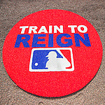 """3 March 2016: New on-deck circles with a new Spring Training slogan """"Train to Reign""""  lie ready prior to a pre-season game between the New York Mets and the Washington Nationals at Space Coast Stadium in Viera, Florida. The Nationals defeated the Mets 9-4 in Grapefruit League play. Mandatory Credit: Ed Wolfstein Photo *** RAW (NEF) Image File Available ***"""