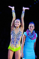 September 11, 2015 - Stuttgart, Germany - LAURA ZENG of USA celebrates 8th place finish in All Around final at 2015 World Championships. By placing in the top 15-gymnasts, Laura wins ticket to Rio 2016 Olympics.