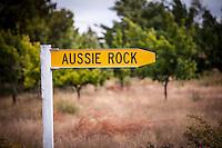 Aussie Rock road sign  near Lake Pukaki, Canterbury, New Zealand - stock photo, canvas, fine art print
