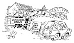 Borstal Farm - Pick your own fights. (cartoon showing a couple not stopping at Borstal Farm on their holidays)