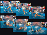 A six sequence image of a girl losing her balance and falling inside an inflated water walking ball at an inflatable pool at the 2011 Orange County Fair.  The girl is inside an inflated ball, which allows her to walk on the water, much like a hamster ball.   The Bubble Rollers (http://thebubblerollers.com/) was running this event.   Note: there are serious safety concerns with some types of water ball use: http://consumerist.com/2011/03/cpsc-deems-water-walking-balls-a-deadly-danger.html