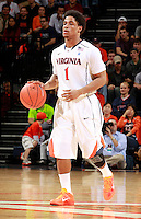 CHARLOTTESVILLE, VA- DECEMBER 6: Jontel Evans #1 of the Virginia Cavaliers handles the ball  during the game on December 6, 2011 against the George Mason Patriots at the John Paul Jones Arena in Charlottesville, Virginia. Virginia defeated George Mason 68-48. (Photo by Andrew Shurtleff/Getty Images) *** Local Caption *** Jontel Evans