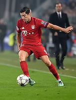 FUSSBALL CHAMPIONS LEAGUE  SAISON 2015/2016  ACHTELFINALE HINSPIEL Juventus Turin - FC Bayern Muenchen             23.02.2016 Robert Lewandowski (FC Bayern Muenchen)