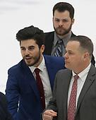 Rob Rassey (Harvard - Assistant Coach), Brian Robinson (Harvard - Volunteer Assistant), Paul Pearl (Harvard - Associate Head Coach) - The Harvard University Crimson tied the visiting Yale University Bulldogs 1-1 on Saturday, January 21, 2017, at the Bright-Landry Hockey Center in Boston, Massachusetts.