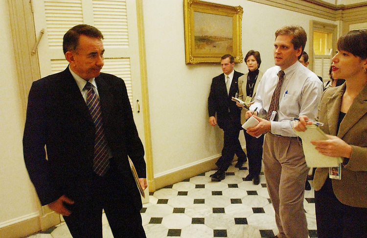 10/24/03.MEDICARE CONFEREES NEGOTIATE--Health and Human Services Secretary Tommy Thompson exits a meeting of Medicare conferees in the U.S. Capitol..CONGRESSIONAL QUARTERLY PHOTO BY SCOTT J. FERRELL