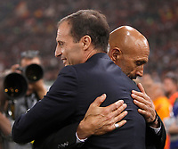 Calcio, Serie A: Roma, stadio Olimpico, 14 maggio 2017.<br /> Juventus' coach Massimiliano Allegri (l) greets AS Roma's coach Luciano Spalletti (r) before the start of the Italian Serie A football match between AS Roma and Juventus at Rome's Olympic stadium, May 14, 2017.<br /> UPDATE IMAGES PRESS/Isabella Bonotto