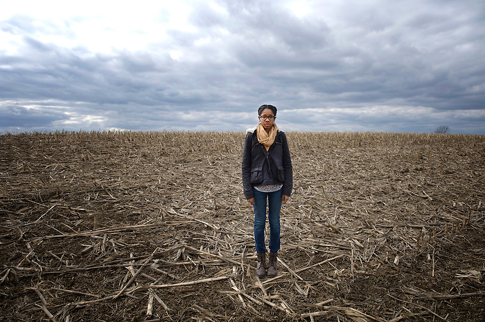 A 16 year old African American Girl in a Cornfield