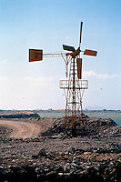Windmills on Bonaire, NA<br /> Renewable Energy From Eolian Power<br /> Windmills used for irrigation or local power generation