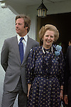 Mrs Thatcher and Mark Thatcher outside their Flood Street Chelsea London home. Election Campaign 1983