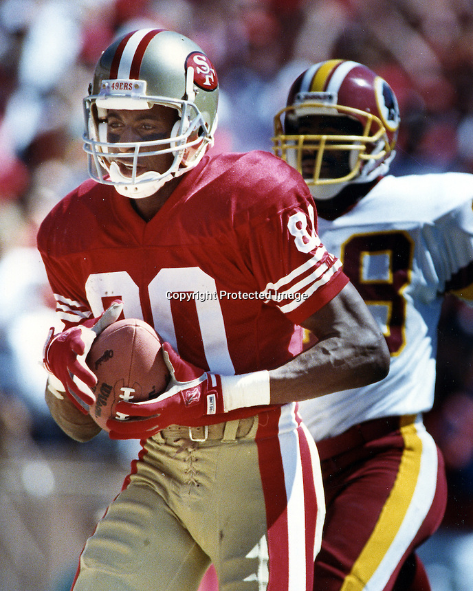San Francisco 49ers Jerry Rice TD over Redskins.<br />