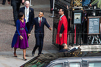 London, 24/05/2011. The US President Barack Obama and his wife Michelle Obama arrived at Westminster Abbey during their first state visit to the United Kingdom.