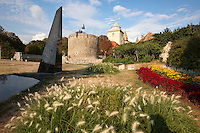 War monument infront of the Medieval Gate Tower of the  Bishop's Castle ( P?spökvår ) Pecs ( Pécs ) - European Cultural City of The Year 2010 , Hungary