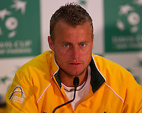 In the press conference after LLEYTON HEWITT (Aus) against ROGER FEDERER (SUI) in the Second Rubber of the Davis Cup between Australia and Switzerland. Roger Federer beat Lleyton Hewitt 5-7 7-6 6-2 6-3..Tennis - Davis Cup - World Group - Royal Sydney Golf Club - Sydney - Day 1 - Friday September 16th 2011..© AMN Images, Barry House, 20-22 Worple Road, London, SW19 4DH, UK..+44 208 947 0100.www.amnimages.photoshelter.com.www.advantagemedianetwork.com.